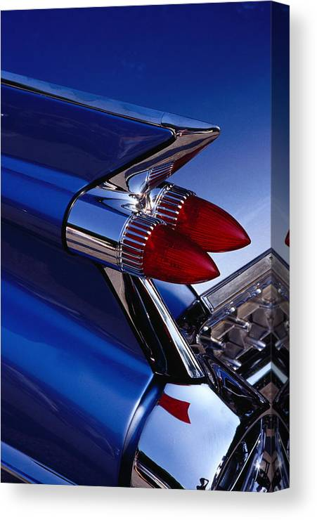 Silver Colored Canvas Print featuring the photograph Detail Of An American Cadillac, Eze by Richard I'anson