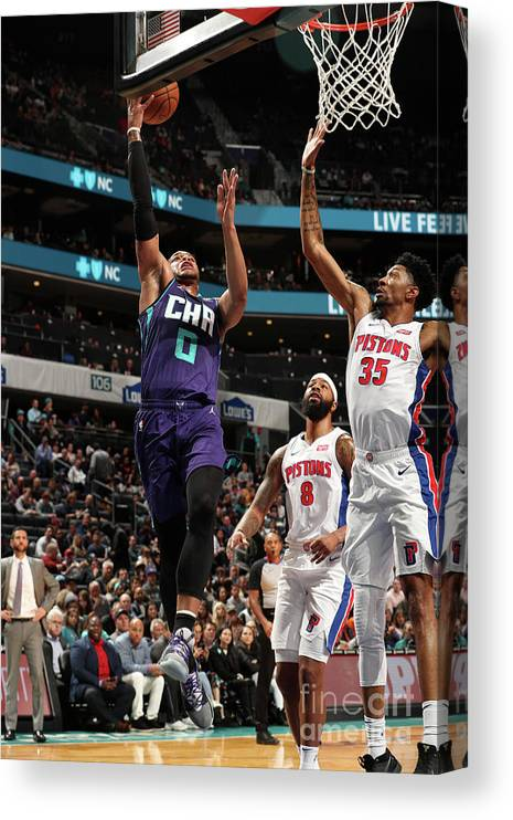 Nba Pro Basketball Canvas Print featuring the photograph Detroit Pistons V Charlotte Hornets by Kent Smith