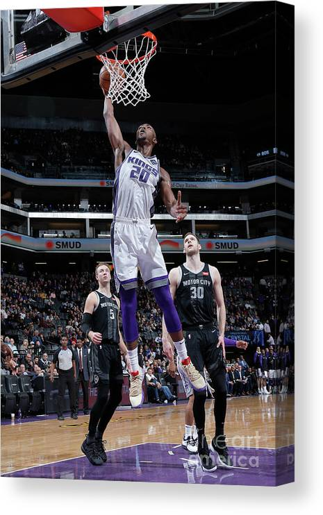 Nba Pro Basketball Canvas Print featuring the photograph Detroit Pistons V Sacramento Kings by Rocky Widner