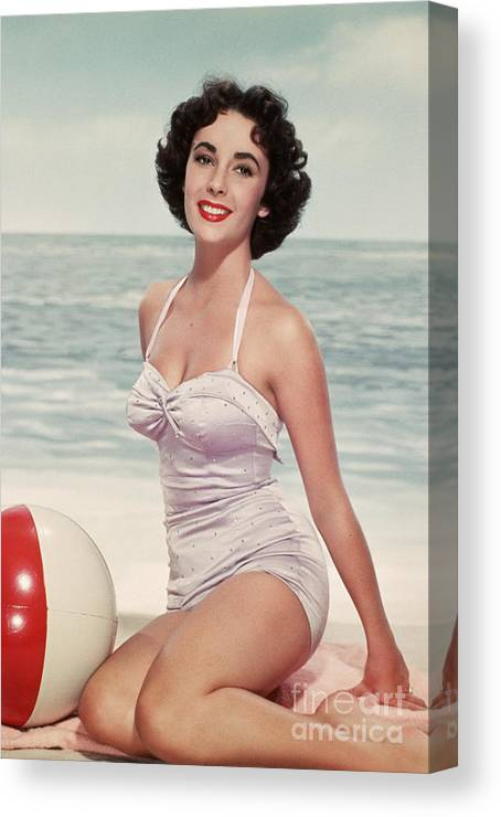 People Canvas Print featuring the photograph Elizabeth Taylor In A Bathing Suit by Bettmann