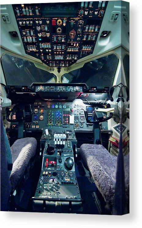 Cockpit Canvas Print featuring the photograph Empty Aeroplane Cockpit by Moodboard