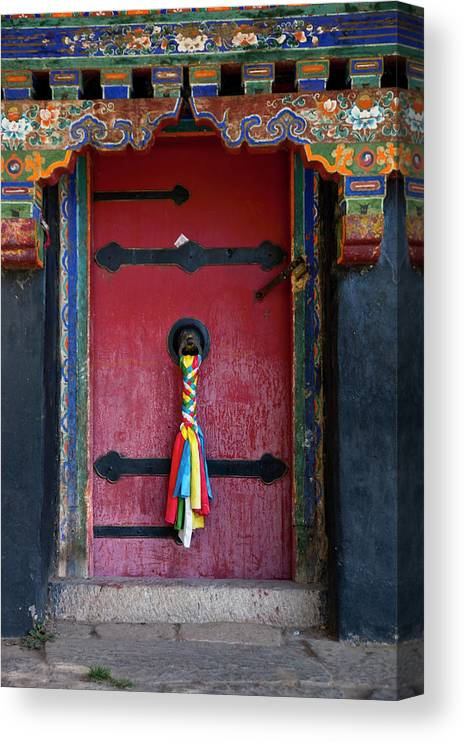 Chinese Culture Canvas Print featuring the photograph Entrance To The Tibetan Monastery by Hanhanpeggy
