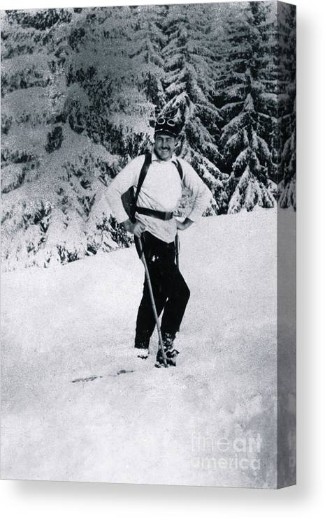 Gstaad Canvas Print featuring the photograph Ernest Hemingway Skiing by Bettmann