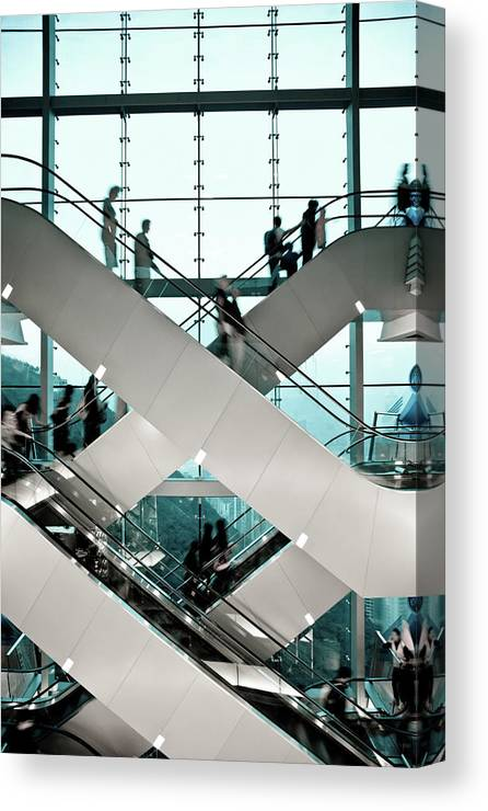 People Canvas Print featuring the photograph Escalator by Ymgerman