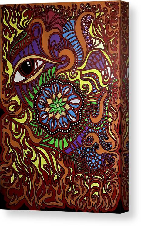 Canvas Print featuring the painting Eyes of Fire by Shaun McNicholas