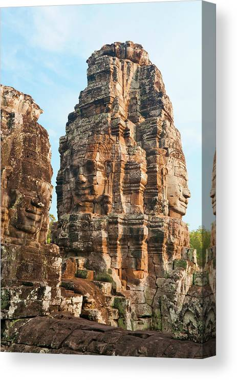 Cambodian Culture Canvas Print featuring the photograph Faces On Bayon Temple Cambodia by Leezsnow