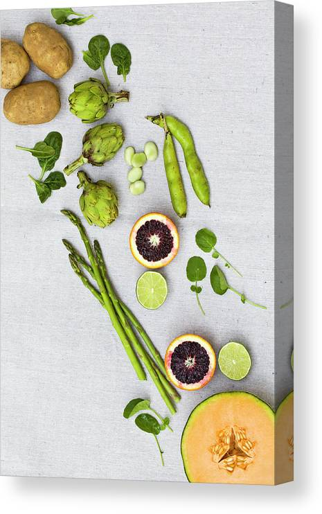 White Background Canvas Print featuring the photograph Farmers Market - Vegetables On Linen by Kelly Sterling Photography