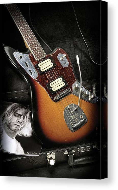 Music Canvas Print featuring the photograph Fender Kurt Cobain Jaguar Electric by Total Guitar Magazine