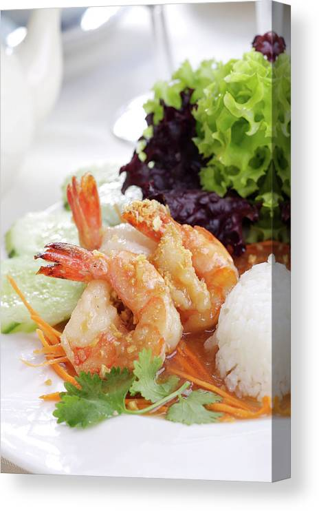 Thai Food Canvas Print featuring the photograph Fried Shrimps With Garlic by Shyman