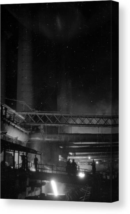 Working Canvas Print featuring the photograph Furnaces By Night by Felix Man