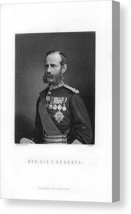 Engraving Canvas Print featuring the drawing General Sir Frederick Roberts by Print Collector
