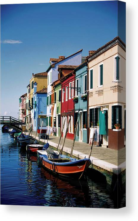 Row House Canvas Print featuring the photograph Gondolas In A Canal, Burano, Venice by Medioimages/photodisc