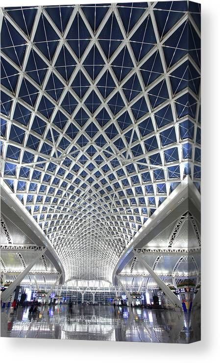 Chinese Culture Canvas Print featuring the photograph Guangzhou Railway Station by Real444