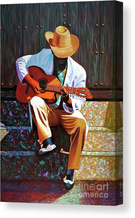 Cuban Canvas Print featuring the painting Guitar player #3 by Jose Manuel Abraham