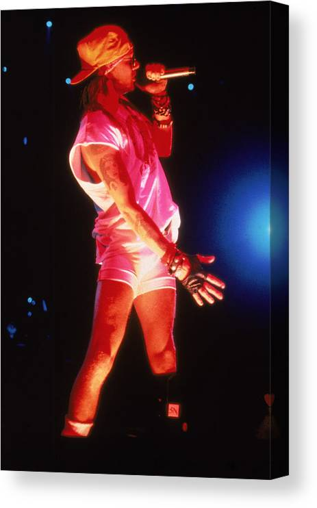 People Canvas Print featuring the photograph Guns N Roses Axl Rose Onstage by Hulton Archive