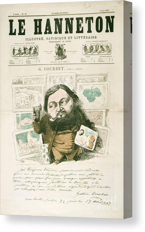 Magazine Cover Canvas Print featuring the drawing Gustave Courbet, French Painter, 1867 by Print Collector