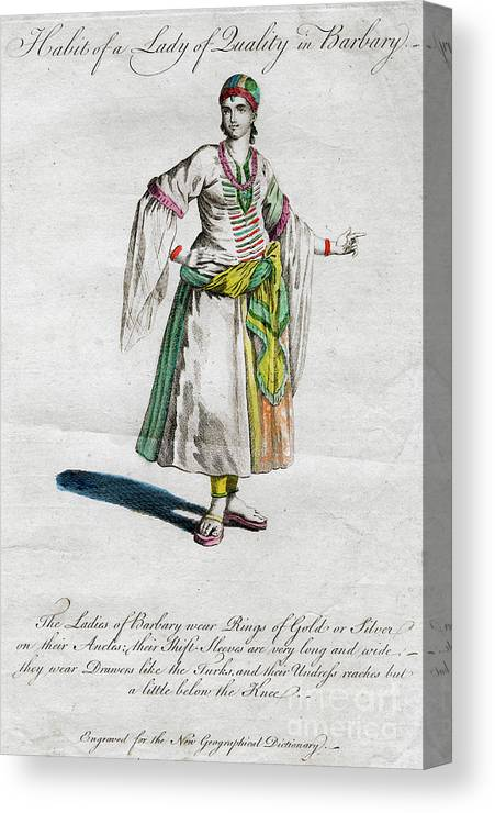 Engraving Canvas Print featuring the drawing Habit Of A Lady Of Quality In Barbary by Print Collector