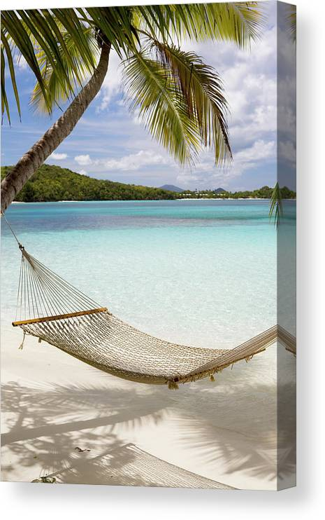 Water's Edge Canvas Print featuring the photograph Hammock Hung On Palm Trees On A by Cdwheatley