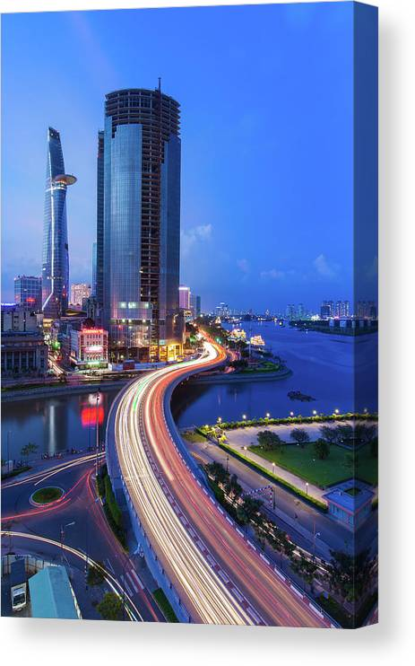 Ho Chi Minh City Canvas Print featuring the photograph Ho Chi Minh City At Night by Jethuynh