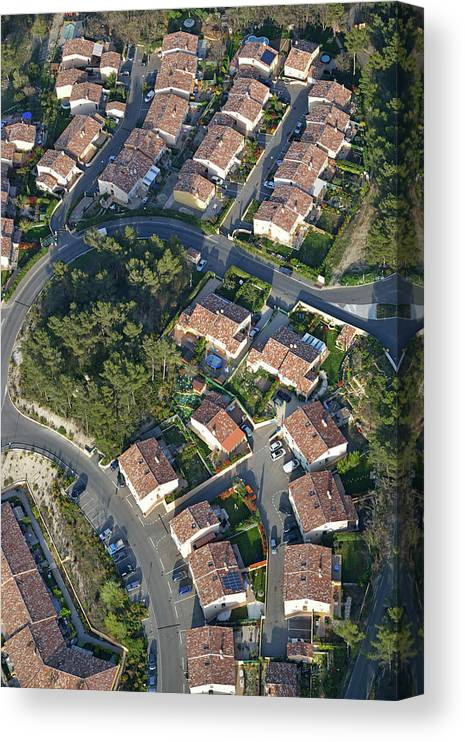 Tranquility Canvas Print featuring the photograph Housing Development, Peypin, Aerial View by Sami Sarkis