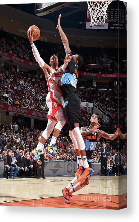 Nba Pro Basketball Canvas Print featuring the photograph Houston Rockets V Cleveland Cavaliers by David Liam Kyle