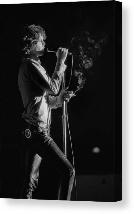 Rock Music Canvas Print featuring the photograph Jim Morrison Live by Michael Ochs Archives