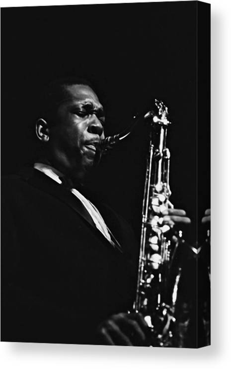 Concert Canvas Print featuring the photograph John Coltrane In Paris, France In 1960 - by Herve Gloaguen