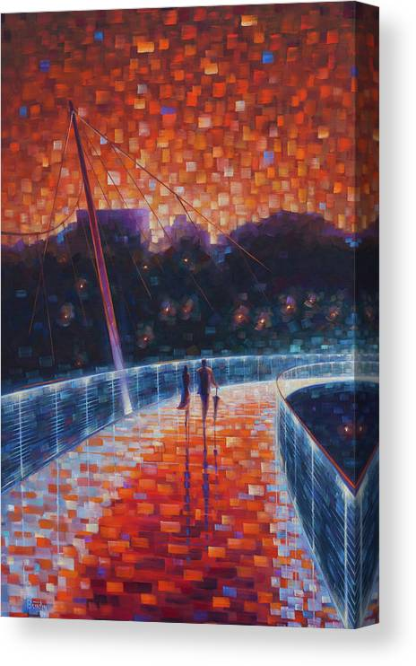 Impressionism Canvas Print featuring the painting Liberty Lights II by Rob Buntin