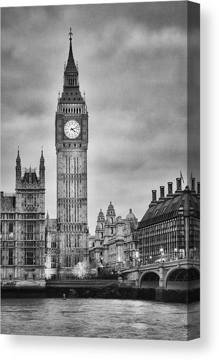 Clock Tower Canvas Print featuring the photograph London, Big Ben, Black And White by Elisabeth Pollaert Smith