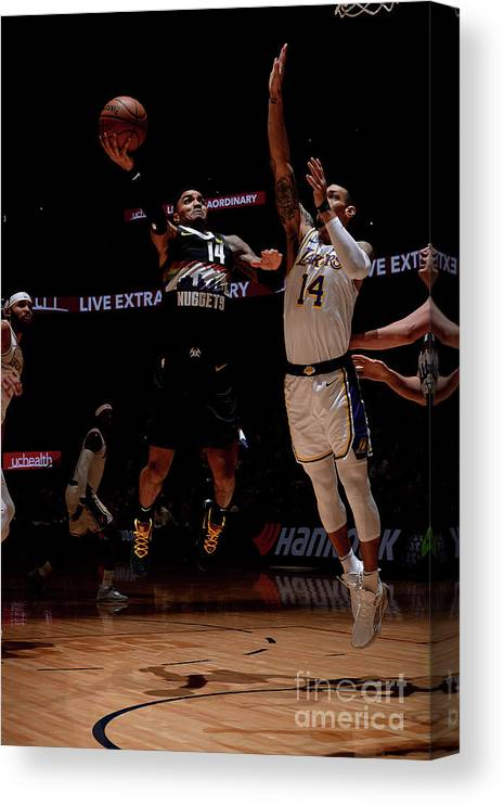 Nba Pro Basketball Canvas Print featuring the photograph Los Angeles Lakers V Denver Nuggets by Bart Young