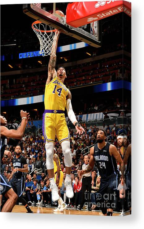 Nba Pro Basketball Canvas Print featuring the photograph Los Angeles Lakers V Orlando Magic by Gary Bassing