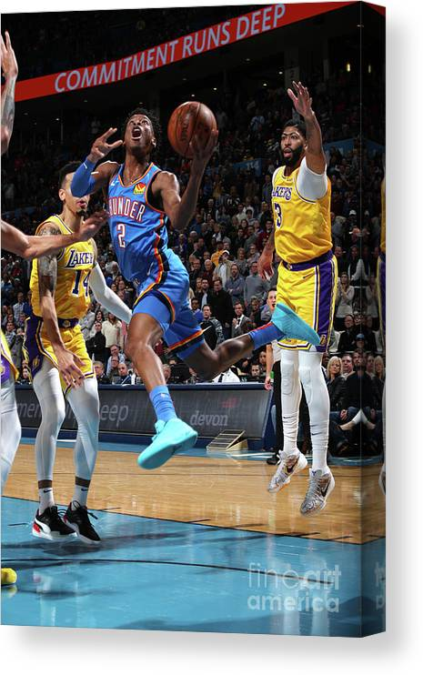 Nba Pro Basketball Canvas Print featuring the photograph Los Angeles Lakers Vs Oklahoma City by Zach Beeker