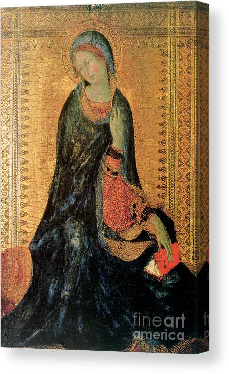 Gothic Style Canvas Print featuring the drawing Madonna Of The Annunciation by Print Collector
