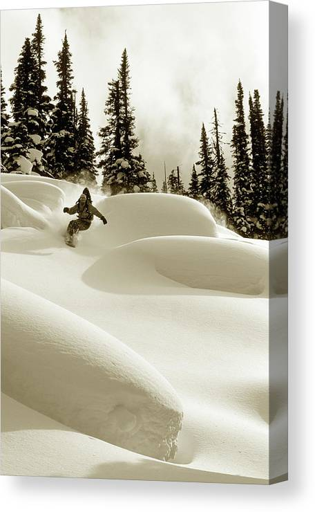 One Man Only Canvas Print featuring the photograph Man Snowboarding B&w Sepia Tone by Per Breiehagen