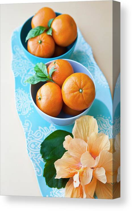 Florida Canvas Print featuring the photograph Mandarin Oranges On A Platter by Pam Mclean