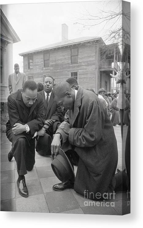 Mature Adult Canvas Print featuring the photograph Martin Luther King Jr. Praying by Bettmann