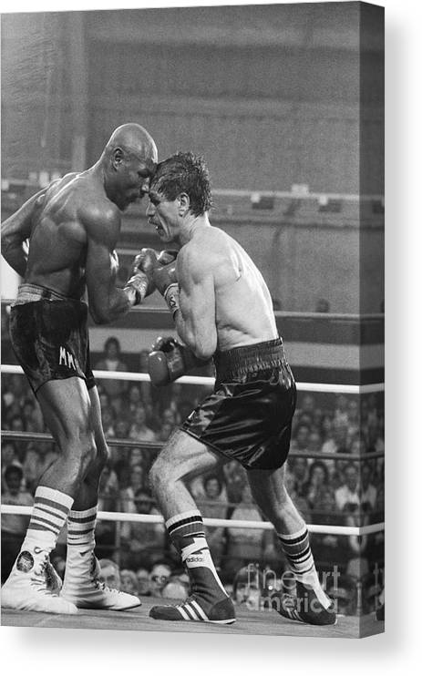 People Canvas Print featuring the photograph Marvin Hagler Punching Vito Antuofermo by Bettmann