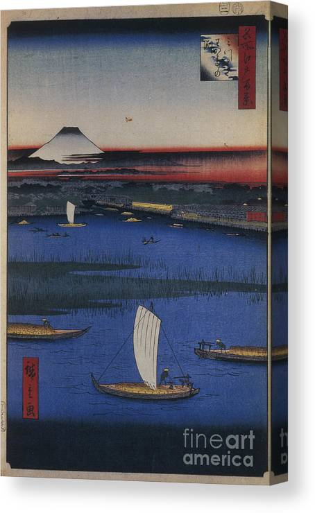 Art Canvas Print featuring the drawing Mitsumata Wakarenofuchi One Hundred by Heritage Images