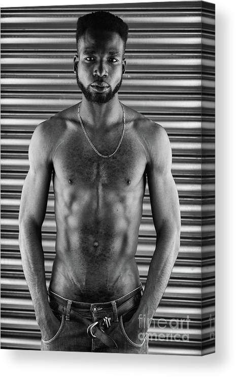 Hairy Canvas Print featuring the photograph Mono Portrait Of An African Man by Vandervelden