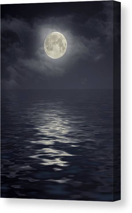Scenics Canvas Print featuring the photograph Moon Under Ocean by Andreyttl