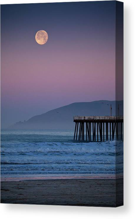 Pismo Beach Canvas Print featuring the photograph Moonset At Pismo Beach by Mimi Ditchie Photography