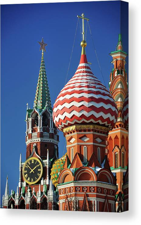 Built Structure Canvas Print featuring the photograph Moscow, Spasskaya Tower And St. Basil by Vladimir Zakharov