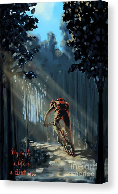 Mountainbike Art Canvas Print featuring the painting My dirt path by Sassan Filsoof