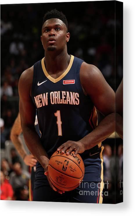 Atlanta Canvas Print featuring the photograph New Orleans Pelicans V Atlanta Hawks by Layne Murdoch Jr.