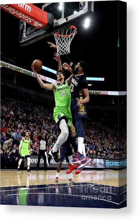 Nba Pro Basketball Canvas Print featuring the photograph New Orleans Pelicans V Minnesota by Jordan Johnson
