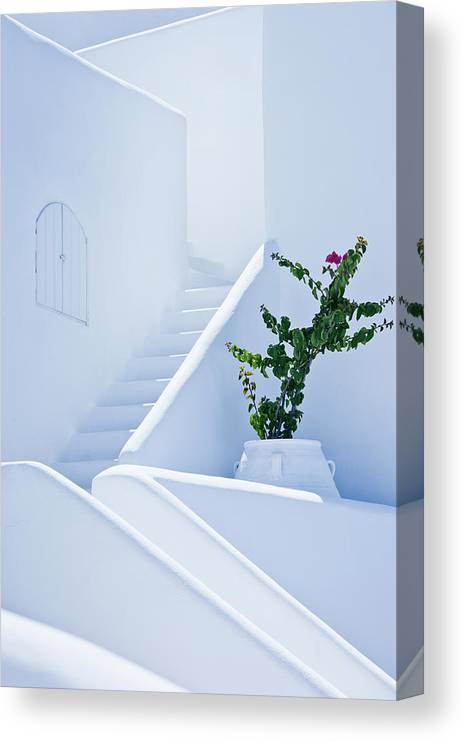 Steps Canvas Print featuring the photograph Nice White Stairs In Oia Village by Mbbirdy