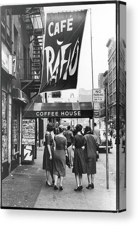 Pedestrian Canvas Print featuring the photograph Outside The Cafe Rafio by Fred W. McDarrah