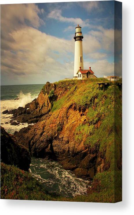 Pigeon Point Light House Canvas Print featuring the photograph Pigeon Point Light Station, California by Zayne Diamond Photographic