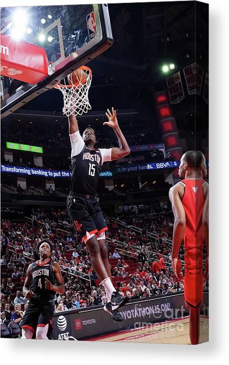 Nba Pro Basketball Canvas Print featuring the photograph Portland Trail Blazers V Houston Rockets by Cato Cataldo
