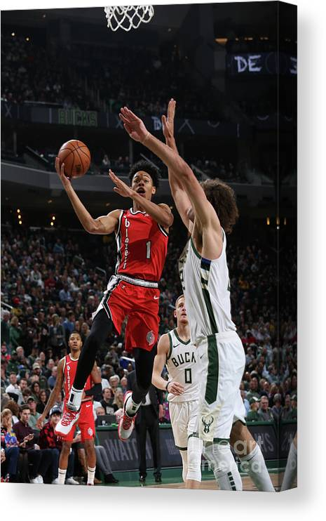 Nba Pro Basketball Canvas Print featuring the photograph Portland Trail Blazers V Milwaukee Bucks by Gary Dineen